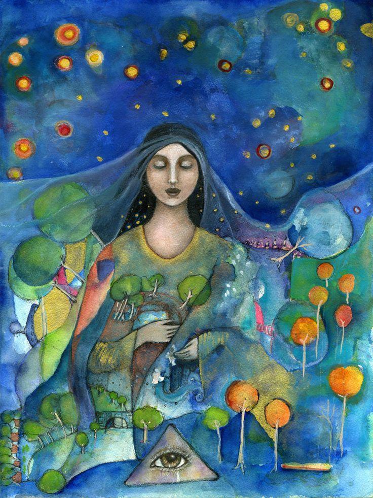 Sacred Art - Goddess of Protection - Inspirational gifts  Goddess Art - Vesna - unique gifts - Slavic Goddess - wall art decor - Boho art by OlivosARTstudio on Etsy