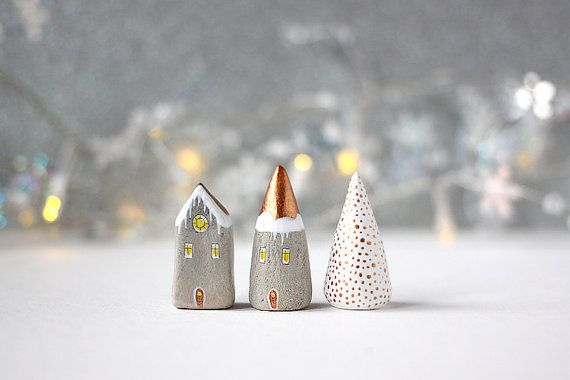 The little winter/Christmas house and tree will be perfect for a nook of your home this upcoming Holiday season. They are sculpted from air drying