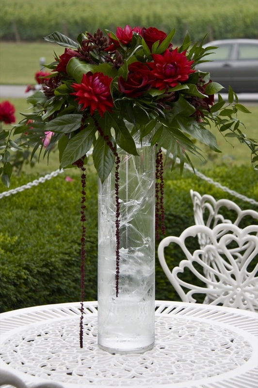 Tall centerpieces red dahlias ruby gems and underwater