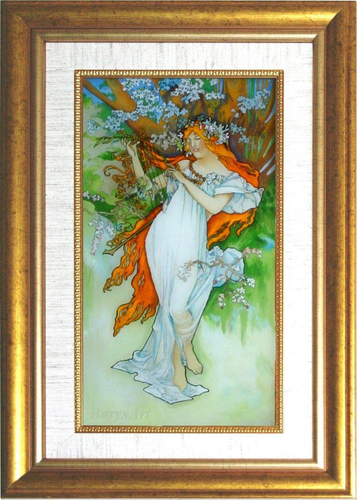 WIOSNA  Alphonse Mucha,  malowane na szkle, Danuta Rożnowska-Borys -BorysArt
