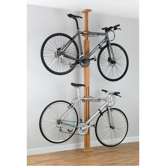 OakRak Floor-to-Ceiling 2 to 4-bike rack - Golden Pecan