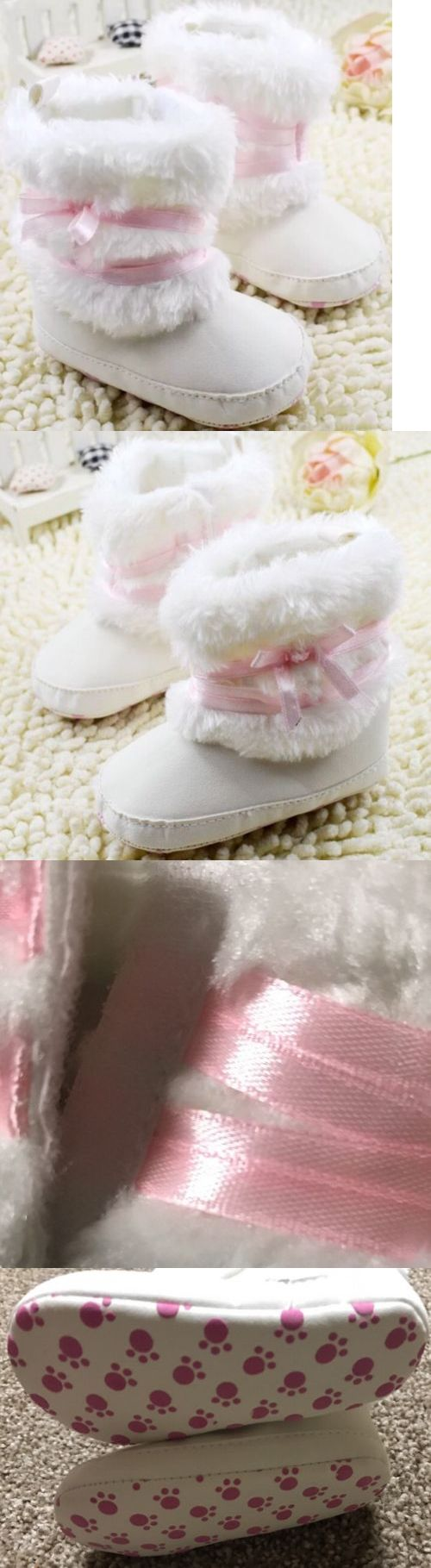 Baby Girls Shoes: Infant Toddler Girls Soft Baby Boots Winter Pink Crib Shoes Newborn 0-6 Month BUY IT NOW ONLY: $12.0