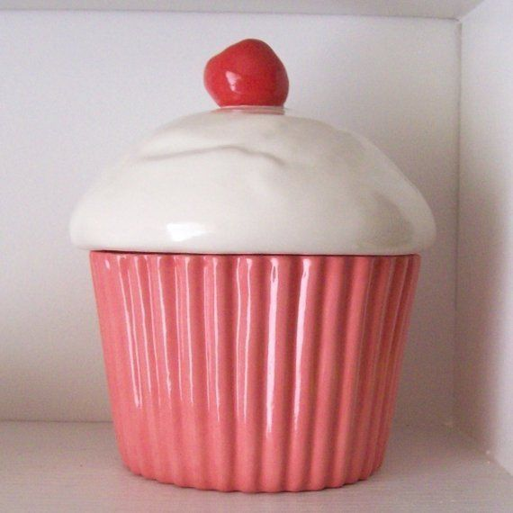 Ceramic Strawberry Pink Cupcake Cookie Jar by fruitflypie on Etsy, $85.00