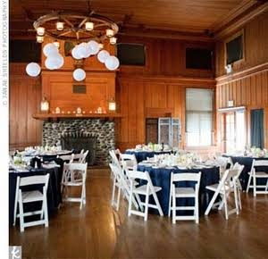 Nautical Wedding Reception blue tablecloths with white yellow green centerpieces or brown tablecloths make the Flores pop