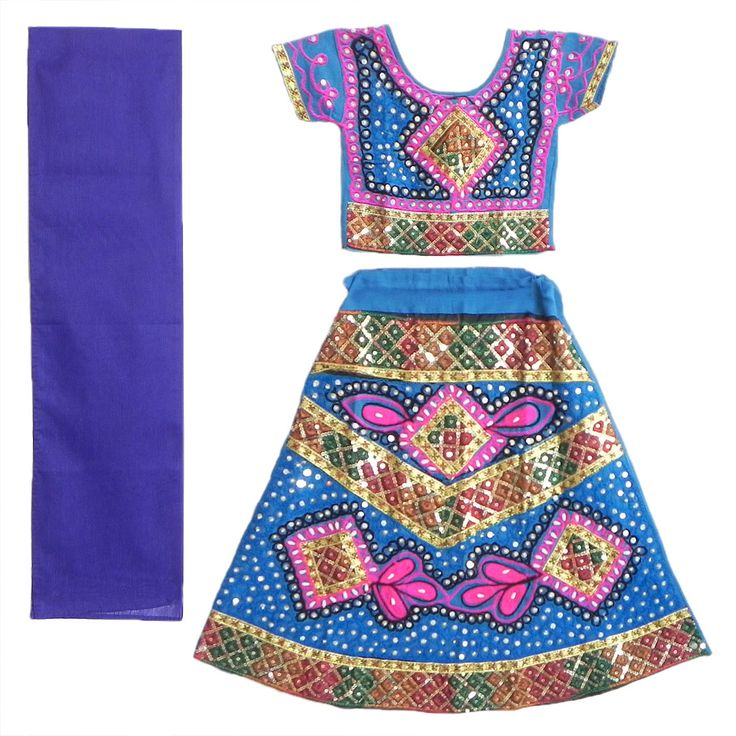 Embroidered Blue Ghagra, Choli with Bead and Sequin Work (Cotton Cloth)