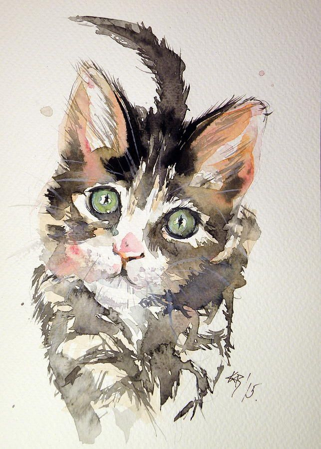 Cat Painting - Little Cat by Kovacs Anna Brigitta