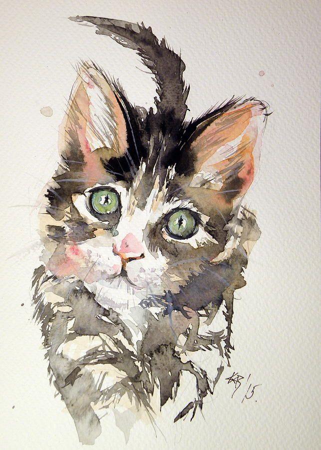 Little Cat Painting by Kovacs Anna Brigitta