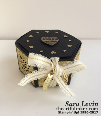 Sara Levin | theartfulinker.com Easy, elegant, handmade box using Window Box Thinlits ( Stampin'Up! ).  Perfect for Valentine's Day, Anniversary, Wedding gift or favor.  Click for details!