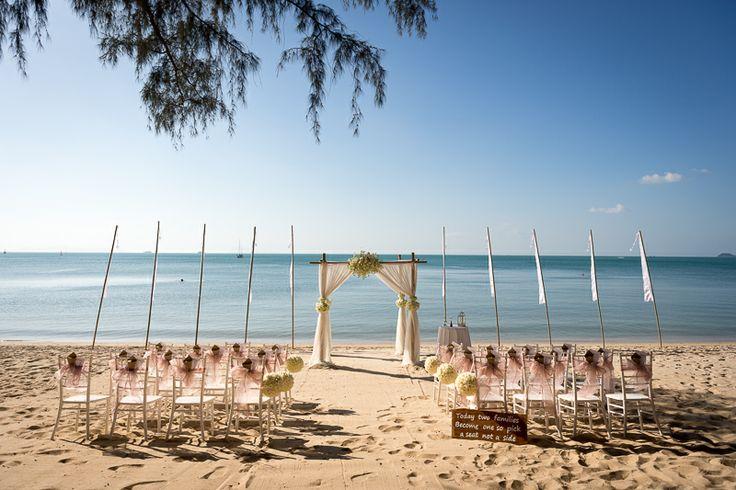 Our beach wedding setup. Bali flags. Simplistic beauty, thailand wedding