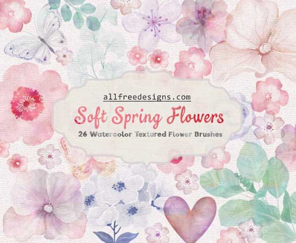 A set of 26 Photoshop brushes featuring watercolor flowers. These brushes consist various Spring blooms in soft pastel effect ideal for Spring designs.