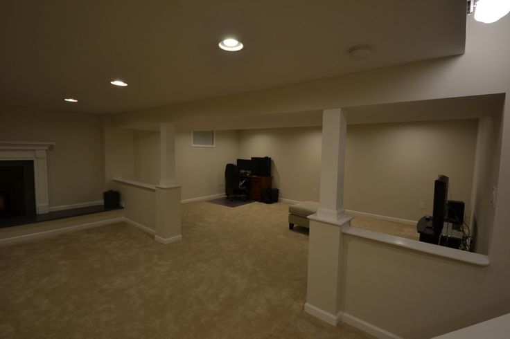 half wall with column basement traditional with basement stairs transitional recessed light trims