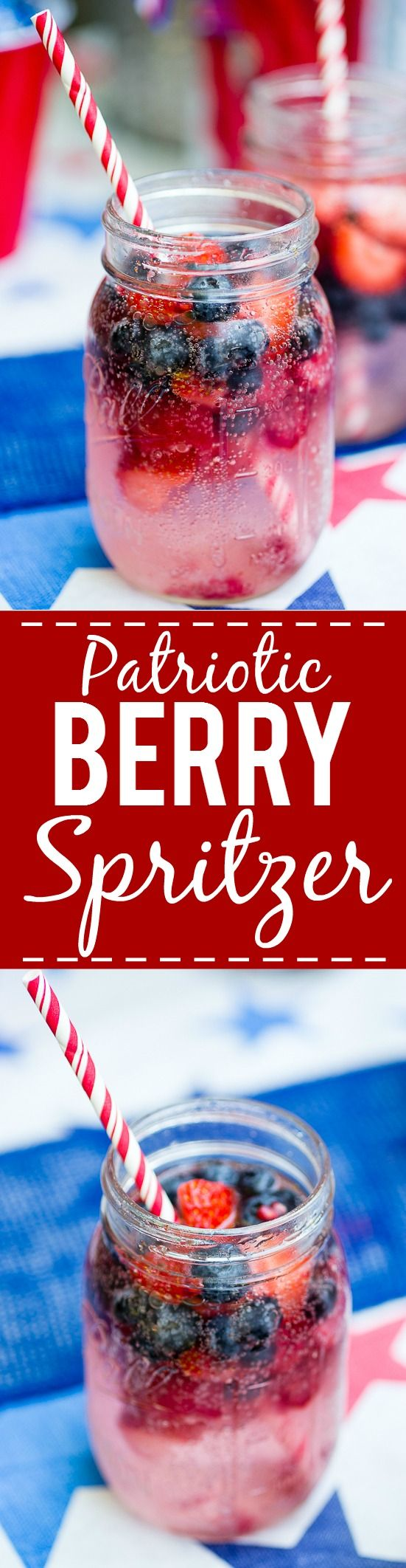 Patriotic Berry Spritzer - Fresh and full of sweet berries, this Berry Spritzer is a pretty and refreshing beverage that's patriotic too! Perfect for any occasion and using up ripe Summer berries! Yum! Omg. So good for fresh sweet summer berries. Blueberries, strawberries, raspberries....