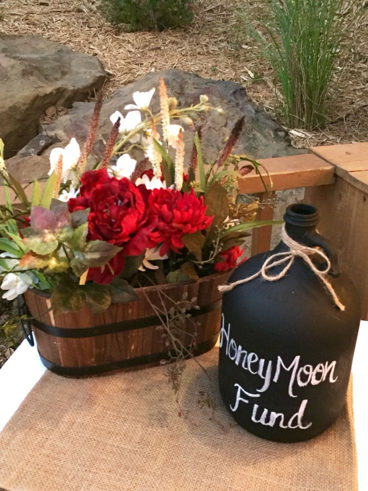What a fab idea...Honeymoon Fund Jar!! Green Wedding ~ Moore Farms Rustic Wedding Venue