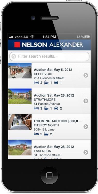 nelsonalexander.com.au - mobile website - property results.