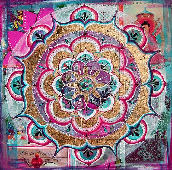 On Hold for Cristi M....Meditation Mixed Media Mandala by KariAtol