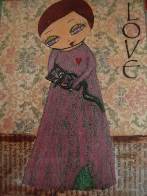 Love  a girl and her cat / ART PRINT of my  Mixed media by eltsamp, $28.00