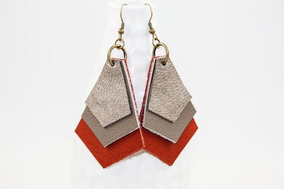 Leather Earrings - Geometric Layers (Taupe & Persimmon)