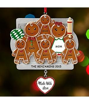 PERSONALIZED-*New*–Made with Love Gingerbread Cookie Family Ornament Lovin' from the oven!  Show how much you adore gingerbread cookies—and your family! http://kittykatkoutique.com/all-new-personalized-christmas-ornaments-2015/