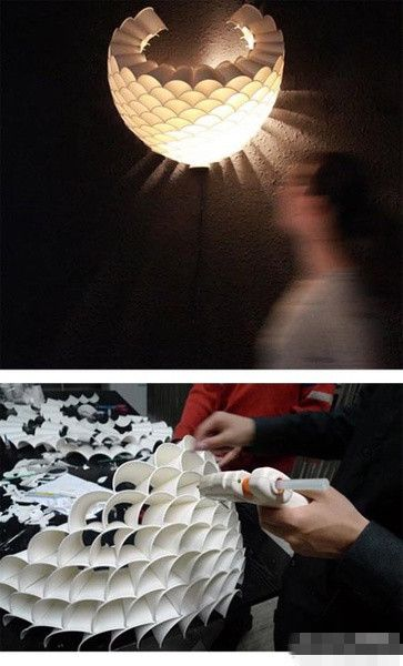 DIY lamp made from paper cups