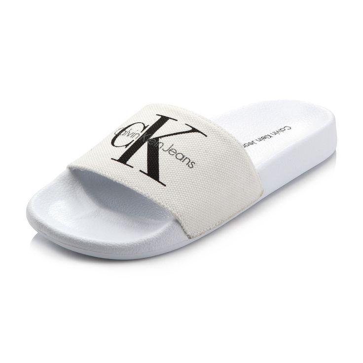 Calvin Klein Viggo Canvas Slide, White