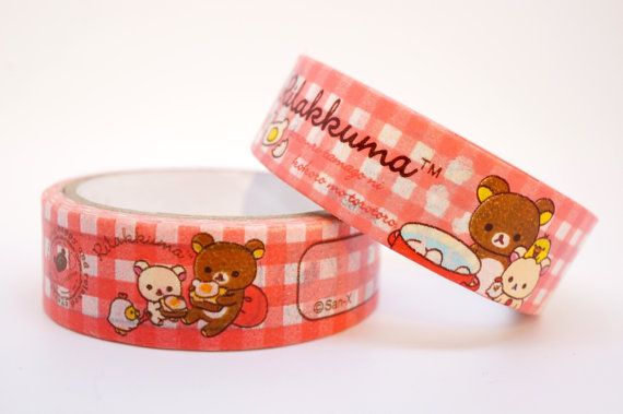 Kawaii RILAKKUMA Japanese BEAR cartoon washi by MyChildhoodDream