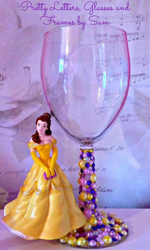 Disney Belle Wine Glass by GlassesNframesBySam on Etsy