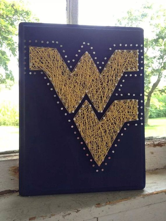 West Virginia University String Art on Wood by BlossomsNKnots