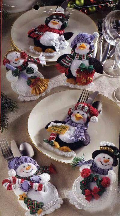 Porta Talheres Bonecos de Neve e Pinguins