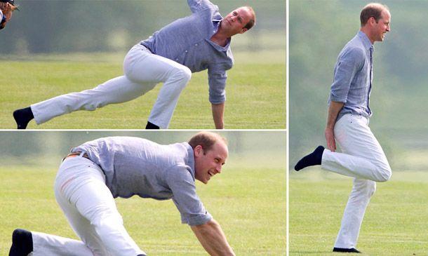 El príncipe William fue captado por los paparazzi mientras hacía unos estiramientos antes de un partido de polo con su hermano, el príncipe Harry.