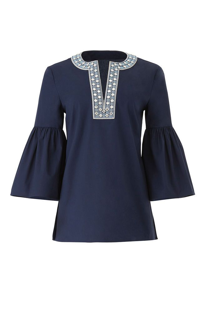 d4c74b259f3e Tory Burch Blue Women s Size 0 Embellished Trim Split Neck Blouse  298-   269