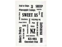 Kiwiana Tea Towel :: This tea towel is 100% cotton and is designed and printed in New Zealand. It has typically New Zealand food and sayings printed on it.