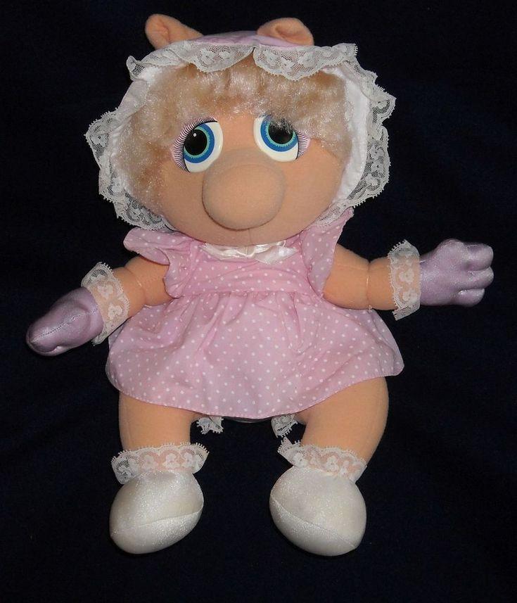 "VINTAGE 1985 LARGE 12"" Miss PIGGY MUPPET BABIES HASBRO SOFTIES STUFFED PLUSH #Hasbro"