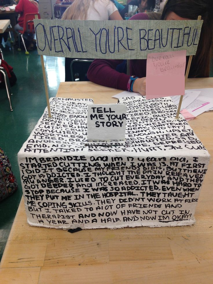 "This 9th grade female student from Fort Myers, Florida created a sculpture representing the issue of teenage self esteem. By creating a ""story box"" she invites viewers to share their stories of confidence, positive self esteem and feeling good. She wanted to share the message that everyone is beautiful, no matter what."