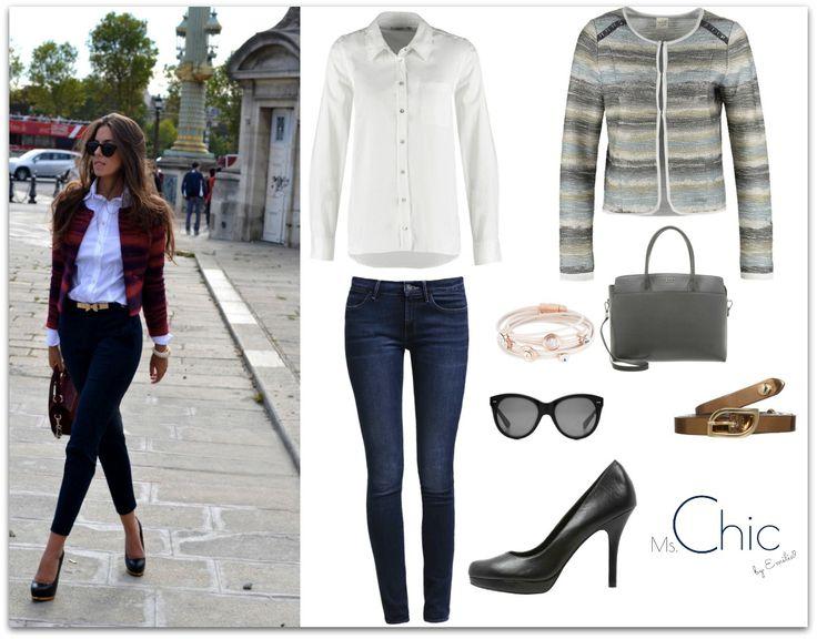 fot.pinterest.com; white shirt Kaffe, jeans Wrangler, blazer Taifun, belt Replay, bag Tosca Blu, heels Pier One, sunglasses Oliver Goldsmith, bracelet sweet deluxe
