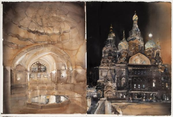 Light in the East. Watercolour on paper by Lars Lerin.