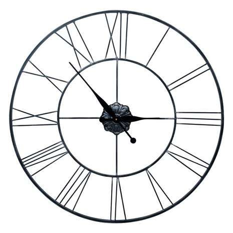 Constructed from a minimal wire frame, this large circular wall clock is designed in a gunmetal grey tone with large and easy to read Roman numerals....
