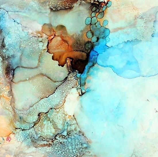 "Lou Jordan Fine Art: ""Veils of Spring"" Original Alcohol Ink Abstract Painting by New Orleans Artist Lou Jordan"