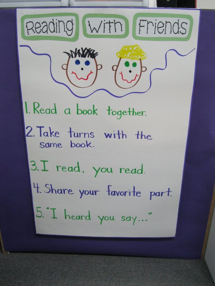 """Reading with Friends:  Read a book together.  Take turns with the same book.  I read, you read.  Share your favorite part.  """"I heard you say...""""  VIA:Kindergarten Rocks!: Classroom Pictures"""