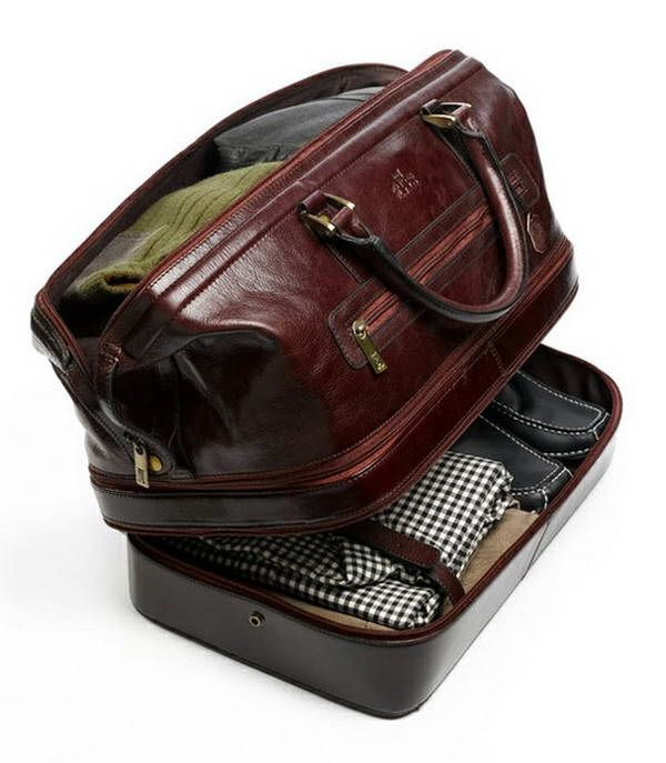 Best tote bag for travel: Leather Duffle Bag with Bottom Compartment