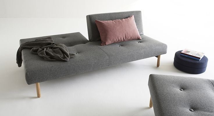 Asmund sofa bed with a New Nordic touch. Combine it with a chair which will work fine as a chaiselong or as extra seating for guests.