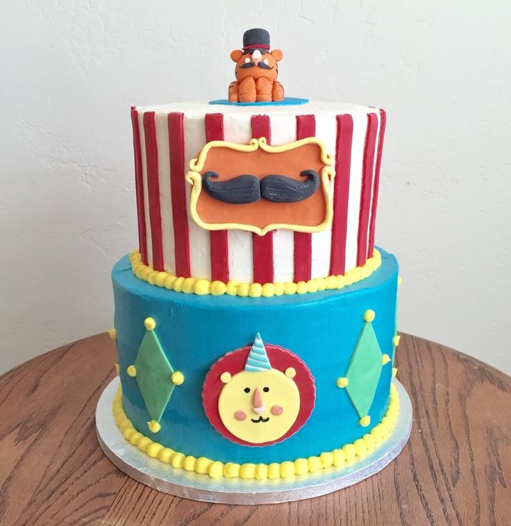 Fisher Price Circus First Birthday Cake -Created by Sweet Chariot Cakes in Fresno, CA