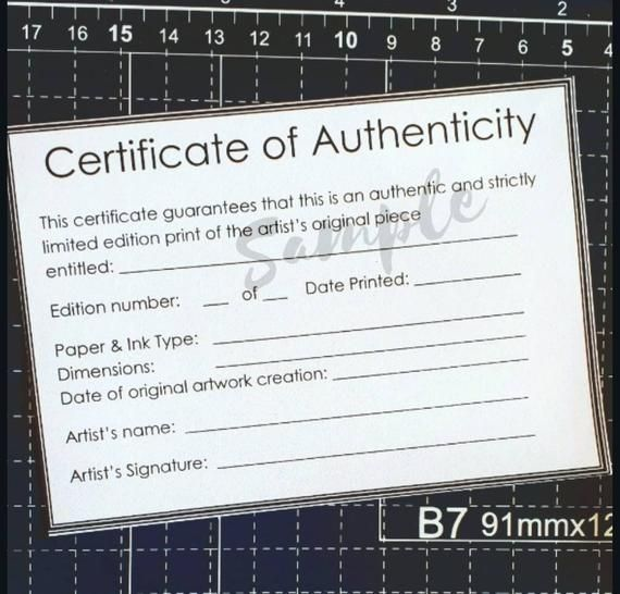 Certificate Of Authenticity Template For Limited Edition Fine Art