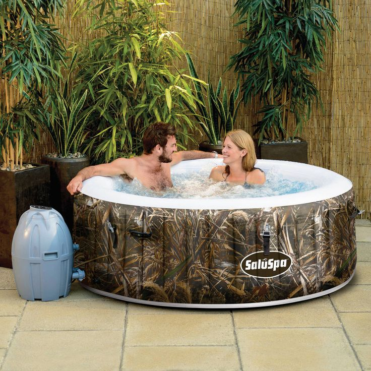 Inflatable Hot Tub Spa Jacuzzi Portable Outdoor Deck Massage Relaxing 4-Person  #RealtreeHotTube
