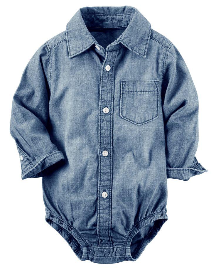 Baby Boy Chambray Button-Front Bodysuit   Carter's OshKosh Canada
