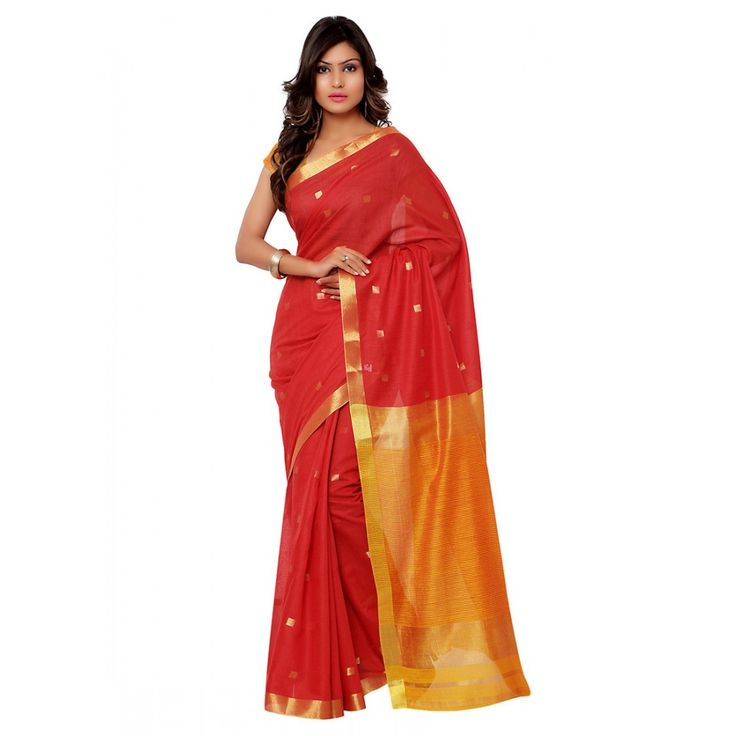 Red Chanderi Casual #Saree With Blouse- $37.44