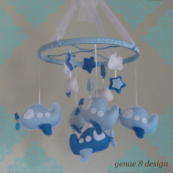 Felt Airplane Baby Mobile Sea and Baby Blue Plane by genae8design, $55.00