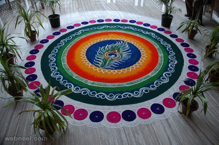 60 Beautiful and Easy Indian Rangoli Designs for your inspiration | Read full article: http://webneel.com/rangoli-designs | more http://webneel.com/daily | Follow us www.pinterest.com/webneel