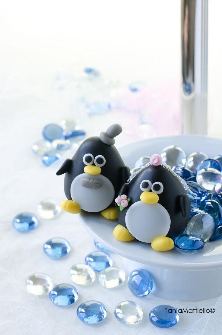 Pinguini Cake Topper Matrimonio-Sposi-Copia-Animali-Polo-Decorazione-Torta-Sovpratorta-Regalo di MaisEPoiMais su Etsy