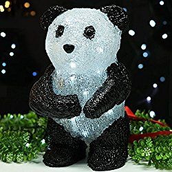 "BRIGHT ZEAL Solar Powered Valentines Lights with LED Figurines - LED Acrylic Lighted 11"" Tall PANDA Sculpture - Outdoor Figurines Light Spring Festival Decoration - Valentines Day Decorations 22011"