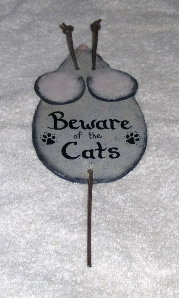 Vtg Slate Hand Painted Mouse Figurine Wall Hanging Beware Of